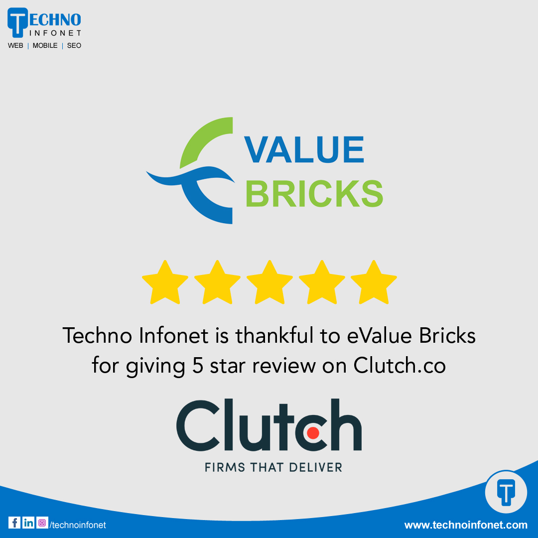 Techno Infonet is thankful to eValue Bricks for giving 5-star review on clutch.co